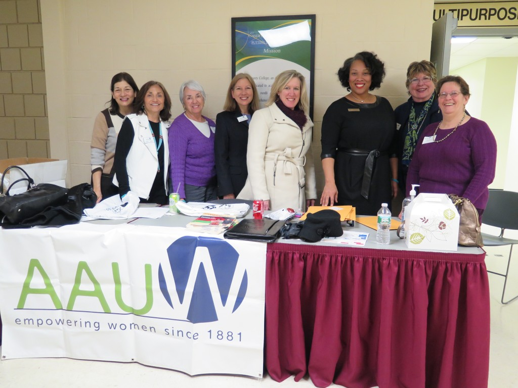 Teen Tech Planning Team. ECCC key member Stephanie Falana (3rd from right). AAUW-NJ President Carol Cohen (2nd from left) and AAUW National Board member Sally Goodson (2nd from right) teentech ECC 2015. 2/10/15 photo: M Graves/AAUW