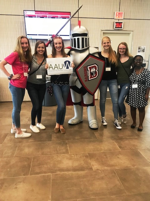Barry the mascot with students from Delran HS at Teentech Rowan College at Burlington County, May 3, 2019.